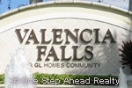 Valencia Falls community sign